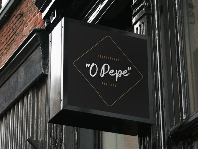 O Pepe Restaurant rectangle handwriten signature white gold black sign brand restaraunt logo branding