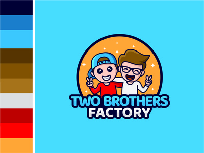 Two Brothers Factory man boy brother illustration simple creative vector logo flat design branding