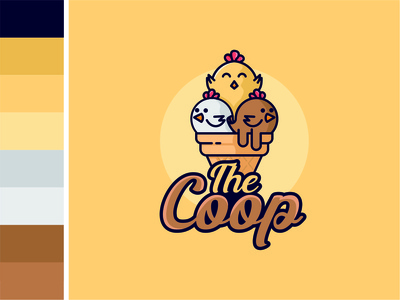 Ice cream and chicken logo combination cute ice cream logo chicken ice cream cone ice cream simple creative vector logo flat design branding
