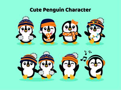 Cute Penguin cute simple creative flat illustration character animal penguin
