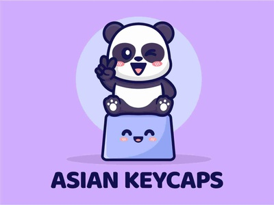 Peace Panda Cute Illustration illustration design logo flat sit keyboard keycaps panda