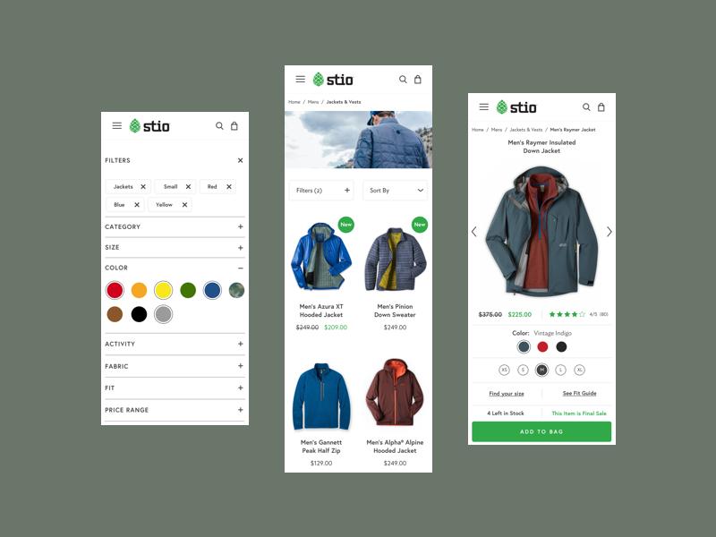 Stio | eCommerce Experience mobile design shopify shopping retail ecom ux ui store responsive shop fashion ecommerce