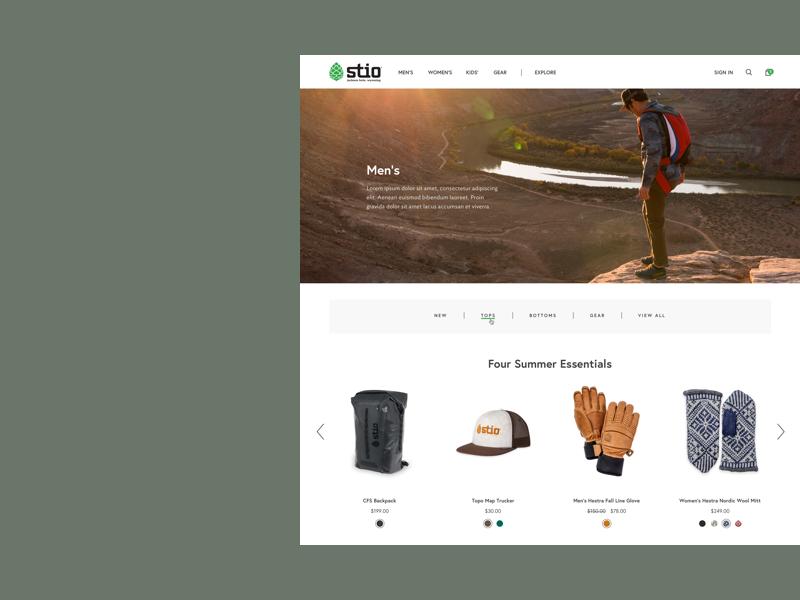 Stio   eCommerce Experience lifestyle homepage design shopify shopping ux ui store responsive shop fashion ecommerce