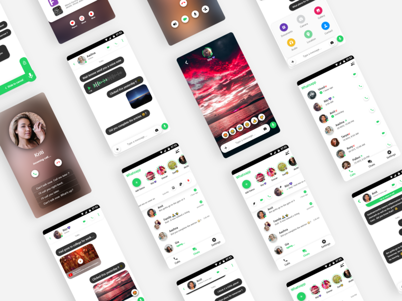 Whatsapp Redesign (Concept UI) social network modern profiles pictures voice redesign chatting app call video social app whatsapp uxui android ui concept mobile ux design aesthetic clean ui minimalistic adobe xd