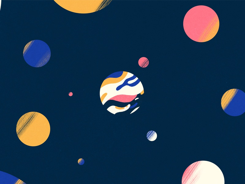 Liquid Planet universe colors planets music video animation illustration