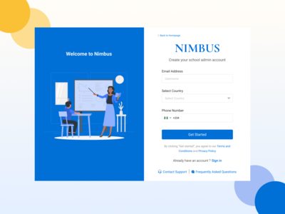 Nimbus Online Learning - Admin Creation Page ux ui onboarding sign up page uidesign learning learning app design school