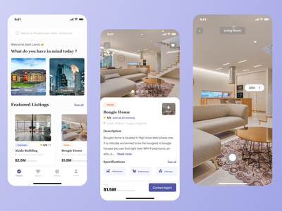 Real Estate App dribbble best shot dribbble 2021 dribbble mobile ios design clean ui vr virtual reality app design real estate app realestate ui ux app tabbar clean property