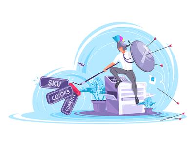 Web-To-Print Warrior flat design logo ui character character design vector design illustrator vector art 2d vector illustration