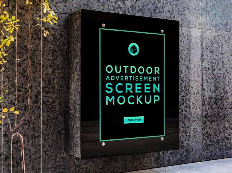 Free Outdoor Advertising Screen Mock-Up 5 freebie free street outdoor panel screen advertisement poster mock-up mockup