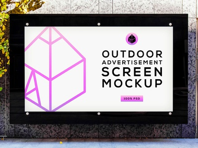 Free Outdoor Advertising Screen Mock-Up 4 freebie free street outdoor panel screen advertisement poster mock-up mockup