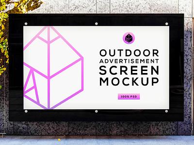 Free Outdoor Advertising Screen Mock-Up 4 freebie free street outdoor panel screen advertisement poster mock-up mockup