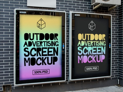 Free Outdoor Advertising Screen Mock-Ups 3 freebie free street outdoor panel screen advertisement poster mock-up mockup