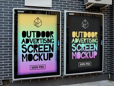 Free Outdoor Advertising Screen Mock-Ups 3 freebie free street outdoor panel screen advertisement poster mock-up mockup