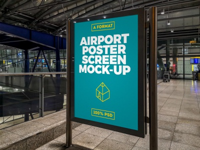 Free Airport Poster Screen Mock-Up 4 freebie free lcd display terminal airport screen design print poster mock-up mockup