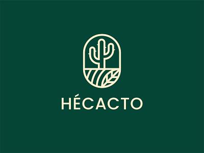 Hécacto Plant Shop Logo fresh creative elegant plantshop plant flower cactus cacti florist vector symbol minimalist logo identity icon design flat branding