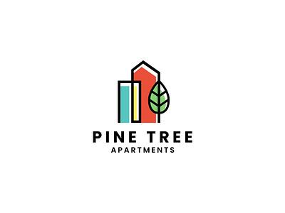 Pine Tree Apartments Logo logo realty real estate apartment apartments modern logo colorful creative simple minimalist identity design branding