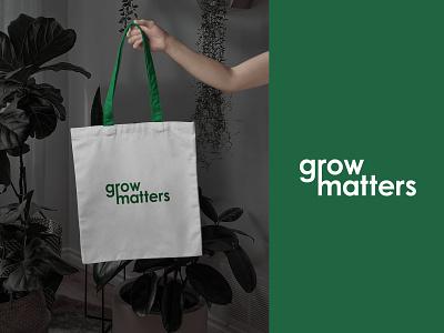 Growmatters Logo & Branding eco grow growmatter brand identity logo idendity nursery environment plantshop plant flat simple minimalist typography wordmark logo type green branding logo