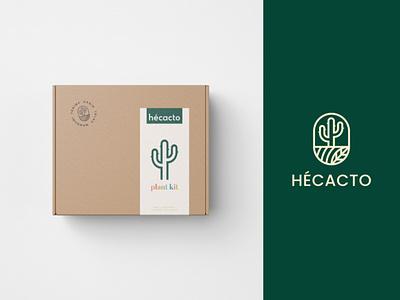 Hecacto Plant kit Package Design green brand identity plant shop florist cactus hecacto cacti cute elegant plant plant kit branding package gift aesthetic modern minimalist simple
