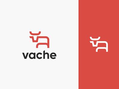 Vache - Burcher Shop Logo brand identity vache cow shop butcher logo design flat modern simple branding minimalist