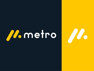 metro metro logo m logo m metro symbol simple yellow vector minimalist modern flat design branding logo identity icon