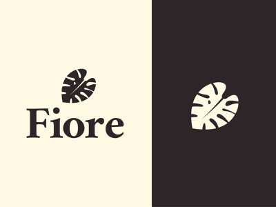 fiore simple symbol plant minimalist elegant modern botanical flower leaf fiore monsetera florist vector flat design branding logo identity icon