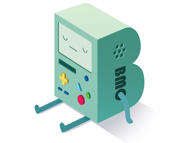 B is for BMO lettering adventure time drop cap