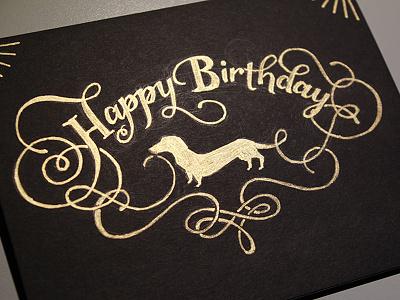 Happy Birthday lettering dachshund