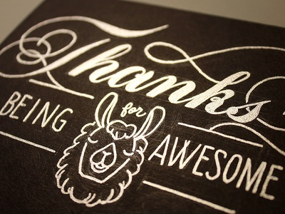 Awesome Llama greeting card llama lettering hand lettering silver ink