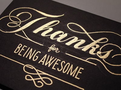 Thanks thank you card greeting card lettering hand-drawn lettering gold metallic ink