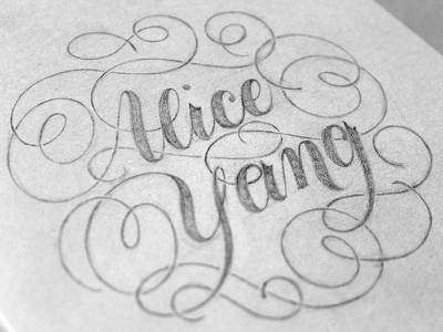 Name Page pencil lettering hand lettering flourishes