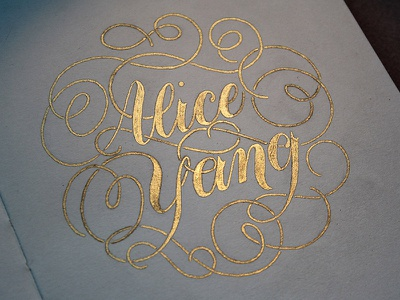 Name Page Gold lettering hand lettering flourishes gold gold ink