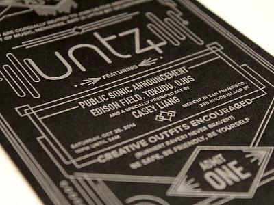 Untz Invite letterpress lettering design illustration deco invite invitation ticket
