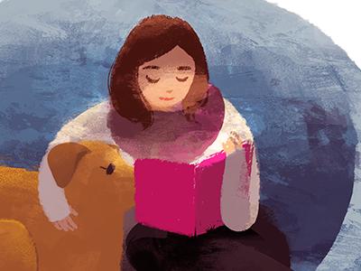 Story Time dog reading book illustration