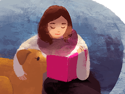 Story Time dog reading book illustration