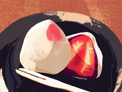 Strawberry Mochi art illustration color study dessert strawberry mochi