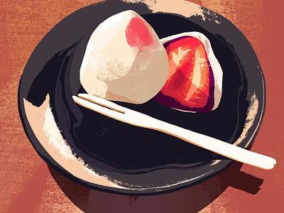 Strawberry Mochi art illustration color study dessert strawberry mochi