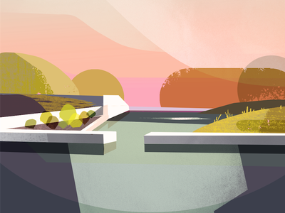 5/100 Garden on a pond garden color blocks geometric illustration art 100daysofcolorblocks the100dayproject