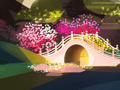 Summertime Sanctuary vis dev bridge garden color block illustration