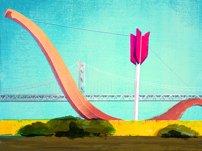 8/100: Cupid's Span illusration arrow bow rincon park embarcadero san francisco cupids span