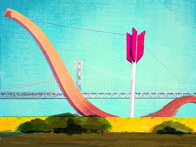 8/100: Cupid's Span illusration arrow bow rincon park embarcadero san francisco cupids span