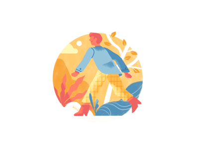 🏃‍♂️ adventure plants nature business man character people editorial illustration