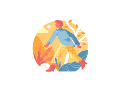🏃♂️ adventure plants nature business man character people editorial illustration