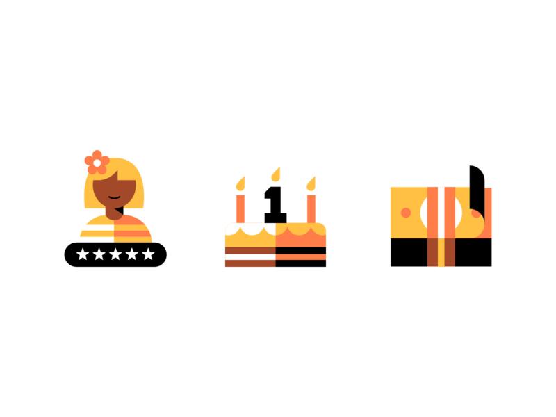 🌼 reward payment cash anniversary birthday user rating money cake badge icon vector logo uber design illustration
