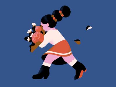 🍂 pantone celebration girl floral flowers bouquet character people vector illustration
