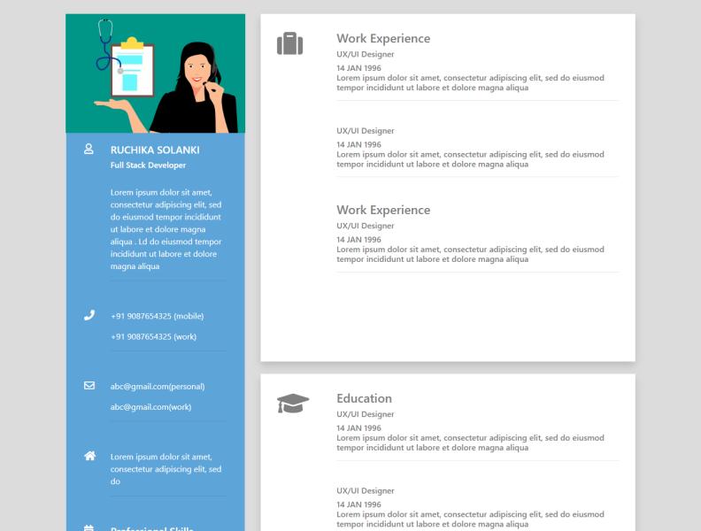 Web Designing For Cv Resume Templates By Ruksar Shaikh On Dribbble