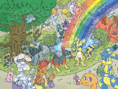 Neopia Central rainbow digital illustration neopia central fanzine neopets fanart