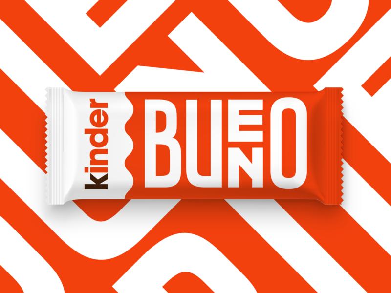 Kinder Bueno - Concept dribbbleweeklywarmup chocolate packaging flat minimal typography vector branding
