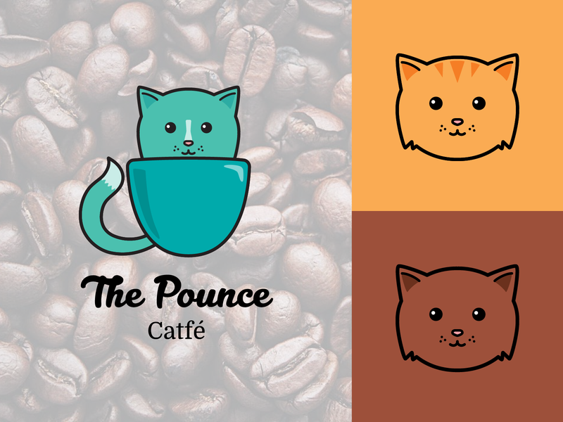 The Pounce Cat Cafe Logo branding design logo