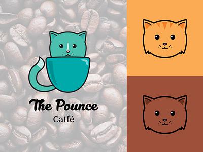 The Pounce Cat Cafe Logo branding design logo