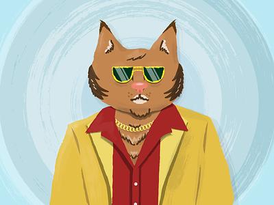 70s Cat vector illustration